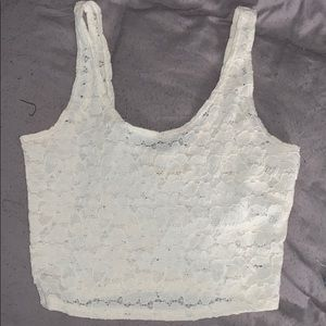 Hollister white lace crop top